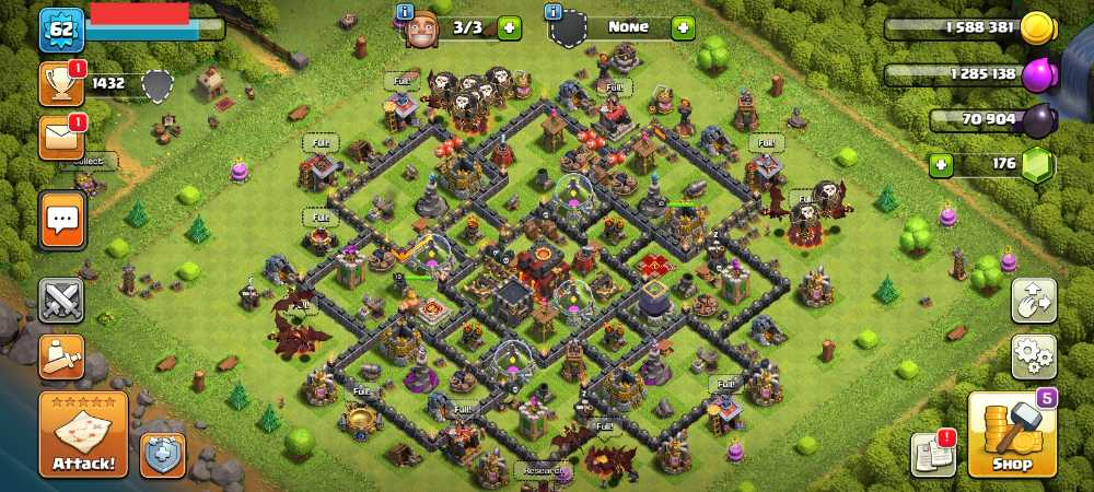 Townhall 10 Level 62 King 10 Queen 13 Gems 176 Account is 100% safe.