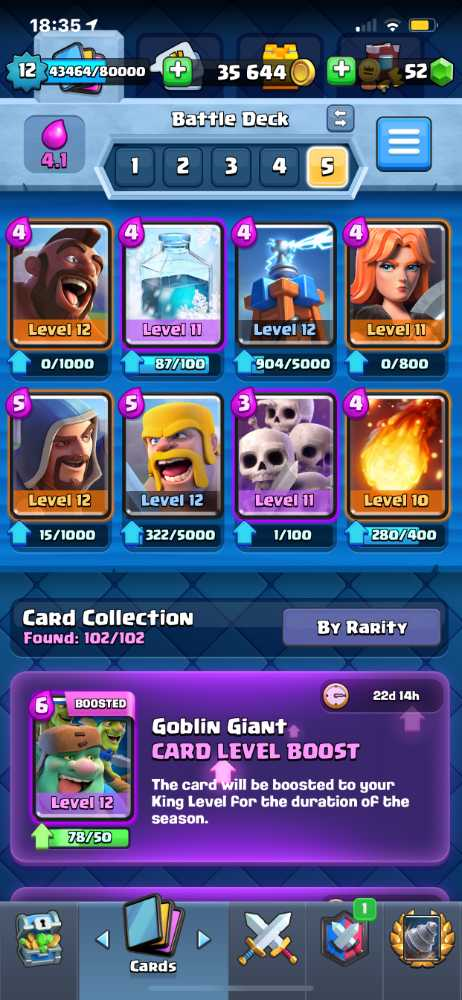 Level 12 / Arena 14 / 36K Gold / 52 Gems / 2 Max Cards (Loon and Zap) / 4.6k Trophies Highest Is 5300 / All 102 Cards