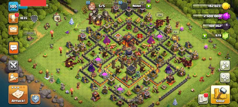 Townhall 10 Level 105 King 17 Queen 33 Gems 979 Account is 100% safe.