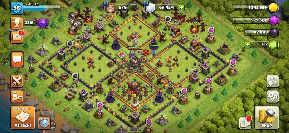 RAstore1601 || Town Hall 10 || Xp 98 || BK = 24 || AQ = 35 || Login Supercell ID Gmail New || For Android and IOS