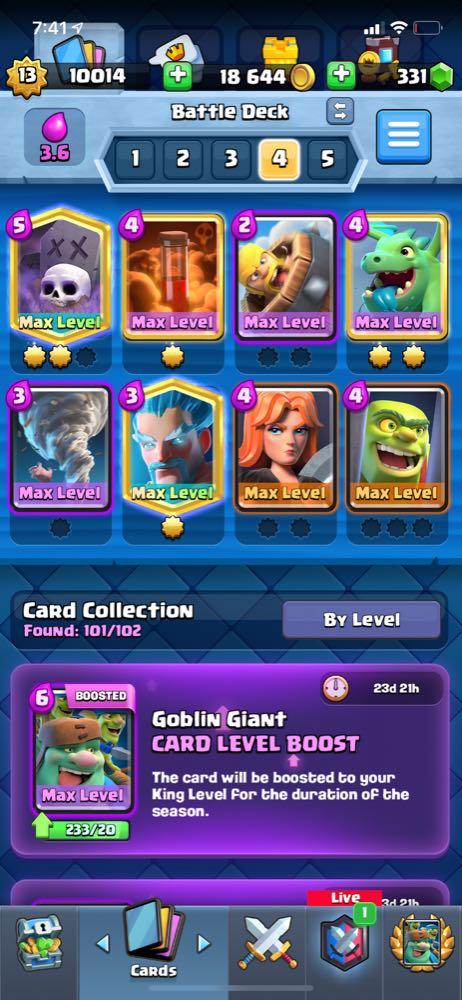 lvl13  clash royale account  41 card max graveyard miner princess log ice wizard max
