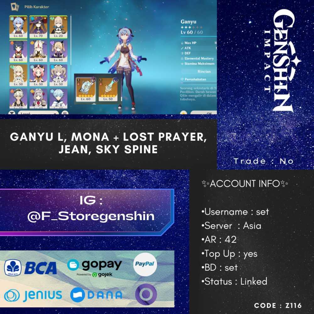 [ASIA] AR 42 - GANYU + MONA + LOST PRAYER + JEAN + SKY SPINE [CODE - Z116]