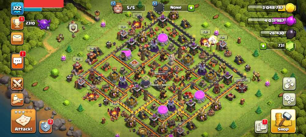 Townhall 10 Level 122 King 23 Queen 27 Gems 731 Account is 100% safe.