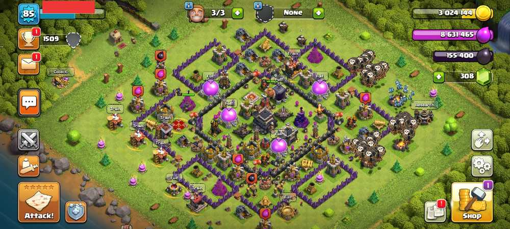 Townhall 9 Level 85 King 18 Queen 17 Gems 308 Account is 100% safe.