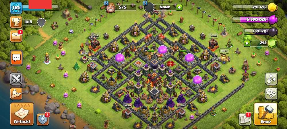 Townhall 10 Level 110 King 20 Queen 18 Gems 292 Account is 100% safe.